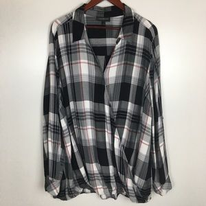 Lane Bryant Plaid Crossover Top Size 28